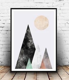 Watercolor print, Abstract poster, Mountains print, geometric art, Nordic design, Wall print, Modern art, minimalist print, triangles print Dimensions available: 5 x 7 8 x 10 11 x 14 A4 210 x 297 mm (8.3 x 11.7) A3 297 x 420 mm (11.7 x 16.5) - Please choose from drop down menu above! If you are interested into any size that is not available, please contact us. INFO: Prints are printed on 240gsm Archival Matt photo paper Shipped in a sturdy mailing tube with sealed caps Frame is not in...