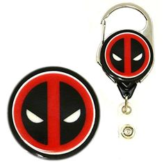 Deadpool Inspired Symbol Decorative ID Badge Holder (Metal Carabiner) -- Awesome products selected by Anna Churchill