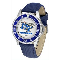 "Middle Tennessee State Blue Raiders NCAA ""Competitor"" Mens Watch by SunTime. $73.79. 1 year limited manufacturer warranty. Officially licensed. Showcase The Hottest Design In Watches Today! A Functional Rotating Bezel Is Color Coordinated To Highlight Your Favorite Team Logo. A Durable, Long Lasting Combination Nylon/Leather Strap, Together With A Calendar Date, Round Out This Best Selling Timepiece.. Save 18% Off!"