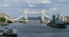 Tower Bridge on Thames - rode over bridge on a tour, cruise tour boat up river