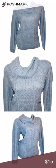 """NWT Women's Gray Long Sleeve Cowl Neck Sweater Includes: 1x Faded Glory Sweater  Condition: NWT    Size: 12-14 or Large  Color: Gray  Sleeve Style: Long Sleeve  Design Features: Cowl Neck / Textured Fabric / Glitter Embellished Material  Length: 28""""  Bust (armpit to armpit): 19""""  Inseam (armpit to bottom hem): 16""""  Material: 94% Acrylic 4% Polyester 2% Metallic Faded Glory Sweaters Cowl & Turtlenecks"""