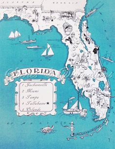 Spring Break  Florida  Vintage Maps  Picture by StoriesDivinations,