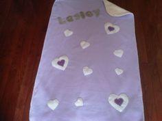 Fleece Baby Blanket: Mauve Cream Hearts