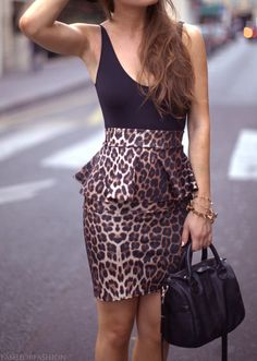 Leopard peplum skirt. This is to die for! I must find this!