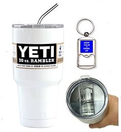 YETI Coolers Custom 30 Ounce 30 oz 30oz Insulated Rambler Travel Tumbler Cup Mug Bundle Includes Spill Proof Slider Lid Bottle Opener Keychain and Stainless Steel Straw White Gloss -- You can get additional details at the image link.