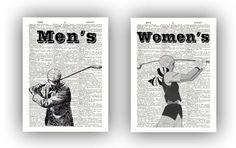Golf art, Old Time Golf Retro Print, Set of 2 prints, for Men's and Women's restroom, vintage illustration, dictionary art, Golf party, golf