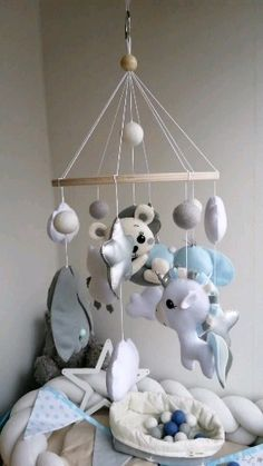 Baby mobile to the crib with a silver stars, wodland mobile, blue nursery hashtags Baby Crib Mobile, Baby Cribs, Bird Nursery, Baby Frame, Mother's Day Diy, Baby Bedroom, Baby Decor, Kids Furniture, Baby Quilts