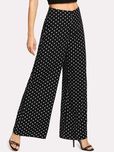 Boho Polka Dot Wide Leg Loose Zipper Fly Mid Waist Black and White Long Length Polka Dot Wide Leg Pants Fashion Pants, Fashion Outfits, Polka Dot Pants, Pantalon Large, Blouse Dress, Pajamas Women, Wide Leg Pants, Chic Outfits, Blouse Designs