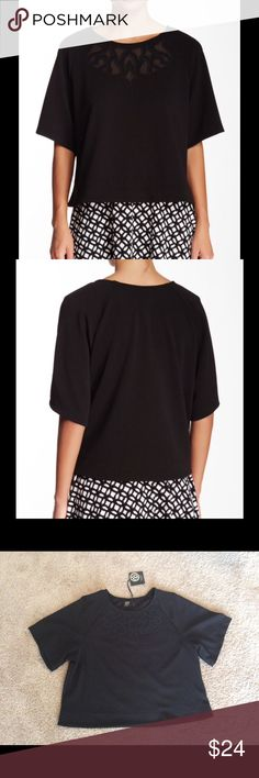 """⚡️LAST CALL⚡️ Bobeau Crepe Knit Laser Cut Blouse A sheer laser cut neckline shows off a little skin in this crepe blouse. Jewel neck, short sleeves, crepe knit, laser cut. About 22"""" length. Made in USA. 96% polyester, 4% spandex. Hand wash. Fits true to size. bobeau Tops Blouses"""