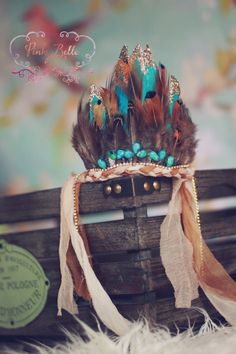 Aqua Indian Princess Feather Crown by PinkyBelleStudio on Etsy