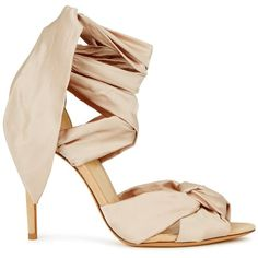 Alexandre Birman Leah Cream Knotted Satin Sandals - Size 3 (£490) ❤ liked on Polyvore featuring shoes, sandals, high heel shoes, satin shoes, cream shoes, open toe sandals and high heels sandals
