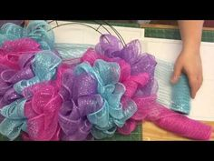 Easter Deco Mesh Wreath - YouTube  2 of 2 this one is using 3 colors of deco mesh