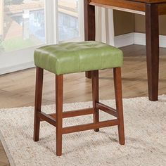 Kinfine Leatherette Square Tufted Counter Height Stool, Moss Green