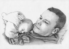 Custom portrait, baby girl or family pencil portrait drawing from a photo. - Custom portrait baby girl or family pencil portrait drawing Portrait Au Crayon, Pencil Portrait Drawing, Baby Girl Portraits, Pet Portraits, Post Office, Custom Pencils, Format A3, Sketches Of People, Baby Drawing