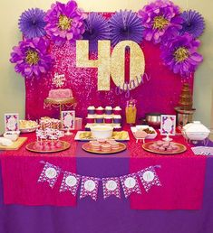 40 Again! 40th Birthday Party Celebration - lots of gold, glitter, hot pink, purple and fun DIY items went into this party party!   dimepartydiva.com #40thbirththday #party #ideas