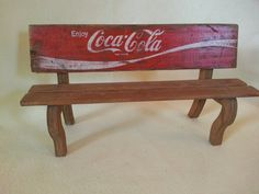 A HoM Creation Coca Cola Wood Crate Upcycled to Miniature Bench Garden Home Decor Cottage Chic Urban Farmhouse via Etsy