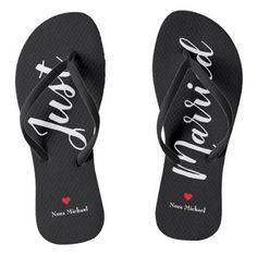 ab82c9312ed820 Personalize Just Married Flip Flops in black - married gifts wedding  anniversary marriage party diy cyo