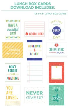 Free Lunch Box Cards & Name Labels from Hazel and Ruby {store checkout required}