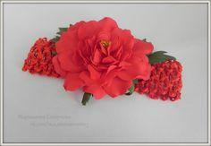 Маришечка Смирнова .Повязочка для малышки из фоамирана_ревелюра с розой  В наличии
