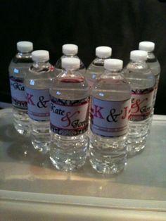 Water Bottle Labels, Updated, More Photos :  wedding black custom damask diy hot pink labels pink water bottle IMG 6412