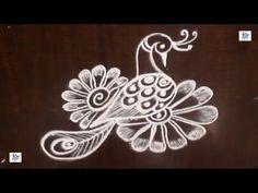 Very Simple peacock Kolam / rangoli Design without using Dots Simple Rangoli Border Designs, Rangoli Designs Latest, Rangoli Borders, Rangoli Designs Flower, Free Hand Rangoli Design, Small Rangoli Design, Rangoli Designs Diwali, Rangoli Designs With Dots, Kolam Rangoli