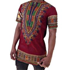 ZHUOFEI African Style patterned Men's tops O neck Short Sleeve Pullover T-shirt Festival cloth For Man # Tribal Shirt, Harajuku, Hip Hop, African Attire For Men, Dashiki Dress, African Dashiki, Hipster, Ethnic Print, Plus Size T Shirts