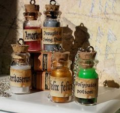 Potions: Vertitaserum / Amortentia / Draught of Living Death / Felix Felicis / Polyjuice Potion