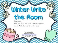 This Winter Write the Room Activity is a fun way for students to recognize winter words. This activity includes winter vocabulary: snowflake, mitten, cocoa, snowman, earmuffs, hat, scarf, and snowball. Enjoy! - Pinned by @PediaStaff – Please Visit  ht.ly/63sNt for all our pediatric therapy pins