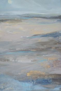 Lesley Birch - Across the Sands with Yellow Moon York Art Gallery, Yellow Moon, Simple Art, Abstract Landscape, Birch, Contemporary Art, Sands, Art Work, Archive