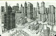 A basic lesson in 2 point perspective, especially for architecture. Although buildings are not my favorite subject, simple ones do add interest. 2 Point Perspective Drawing, Perspective Art, Elements And Principles, Elements Of Art, High School Art, Middle School Art, Drawing Lessons, Art Lessons, Drawing Guide