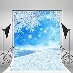 5x7ft(150x210cm) Kate Winter Photography Hintergrund blau sky Frozen Snow Hintergrund weiß Spots für Kinder Foto Studio Hintergrund