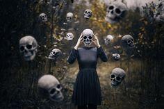 by Michellisphoto Photography Aesthetics Floating Skull Halloween Scary Spooky Dream Nightmare Dress Head Headless Dead Death 50mm Nikon d800 Portrait Dreams Girl