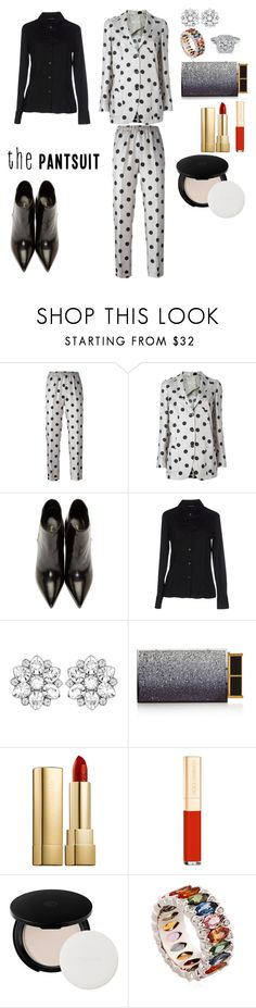 """#thepantsuit Polka-Dots"" by fayekay ❤ liked on Polyvore featuring Alberto Biani, Yves Saint Laurent, Armani Collezioni, Swarovski, Tom Ford, Dolce&Gabbana, Shiseido, Niquesa and thepantsuit"