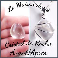 Pendentif Cristal de Roche  Bijou cristal de roche  Pierre naturelle  Cristal de Roche et Argent 925 réalisé à la main par mes soins