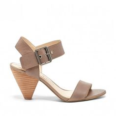 Slater Taupe Leather Mid Heel Sandal | Missy | Free Shipping on Orders $50+