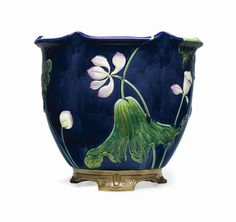 A LARGE MINTONS MAJOLICA COBALT-BLUE GROUND JARDINIERE