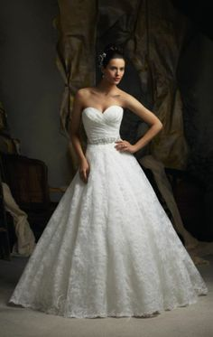 Strapless Alencon Lace by Blu by Mori Lee
