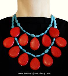 Whimsical and unique! Teardrop-shaped, genuine coral gemstones mixed with oval-shaped, authentic turquoise gemstones! A must have...!     GEMSTONE CORAL Turquoise Statement Necklace by JewelryByJessicaT,