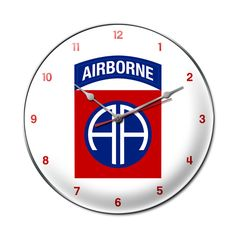 From the Altogether American licensed collection, this 82nd Airborne Infantry Division steel metal clock measures 14 inches by 14 inches and weighs in at 3 lb(s). This clock is hand made in the USA us