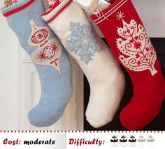 How to make Embroidered Christmas Stockings