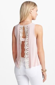 Elodie Open Back Lace Trim Tank (Juniors) available at #Nordstrom - add back underlayer?