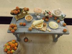 Check out dollhouse miniature country kitchen table making apple pie handmade 1/12 scale on farmhouseminiatures