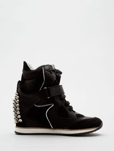 Black Spikes Wedge Sneakers