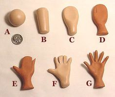 Photo tutorial on making hands for polymer clay dolls or art figures. Tutoriel photo s Polymer Clay Kunst, Polymer Clay Dolls, Polymer Clay Projects, Polymer Clay Charms, Polymer Clay Creations, Clay Crafts, Polymer Clay People, Polymer Clay Figures, Polymer Clay Kawaii