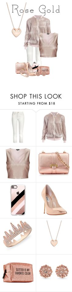"""ROSE GOLD"" by cynthiasels ❤ liked on Polyvore featuring Acne Studios, Sans Souci, Miss Selfridge, Aspinal of London, Casetify, Dune, Anne Sisteron, Ginette NY, Pinch Provisions and Carolee"