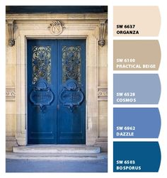 Instantly turn any picture into a palette with ColorSnap, created for you by Sherwin-Williams. Exterior Paint Color Combinations, Exterior House Colors, Exterior Doors, Color Combos, Color Schemes, Blue Wall Colors, Roof Colors, Paint Colours, Accent Colors