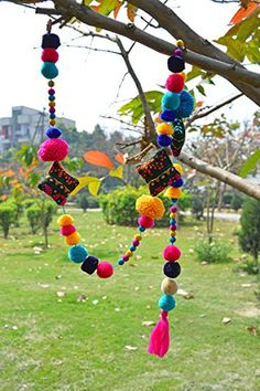 Pompom Garland Multicolored handmade Gift Bohemian Home decor size 1 mt