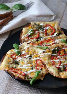 Vegetable Pizza, Pesto, Nom Nom, Dinner, Vegetables, Food, Red Peppers, Dining, Food Dinners