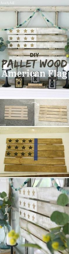 Check out how to make an easy DIY Pallet Wood American Flag @istandarddesign