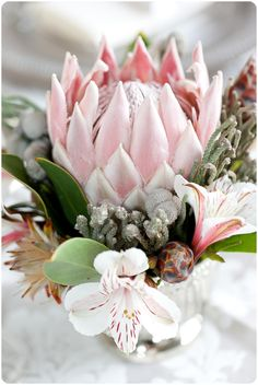 Wedding Favors and Gifts Protea Wedding, Wedding Table Flowers, South African Flowers, Protea Flower, Protea Bouquet, Bridal Shower Flowers, Flower Boutique, Pink Candles, Wedding Flower Inspiration